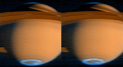 The aurora at Saturn's southern pole is visible in this false-color image. Blue represents the aurora; red-orange is reflected sunlight. The image was gathered by Cassini's ultraviolet imaging spectrograph (UVIS) on June 21, 2005. (NASA/JPL/University of Colorado)