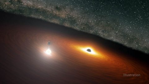 This image shows two massive black holes in the OJ 287 galaxy. The smaller black hole orbits the larger one, which is also surrounded by a disk of gas. When the smaller black hole crashes through the disk, it produces a flare brighter than 1 trillion stars. (NASA/JPL-Caltech)