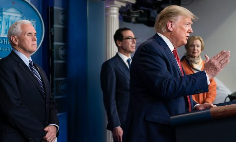President Donald Trump giving update to the COVID-19 crisis. (White House)