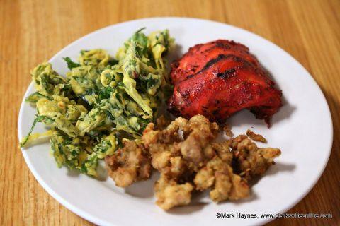 Dine-in restaurants can reopen doors this week. Pictured is Spinach Pakora, Tandoor Chicken and Chicken Pakoda from Tandoor Indian Bistro.