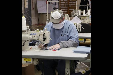 West Tennessee State Penitentiary inmates manufacture cloth face masks to help combat COVID-19 Coronavirus pandemic.