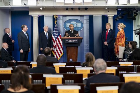 U.S. Surgeon General Jerome Adams delivers remarks at a Coronavirus briefing. (White House)
