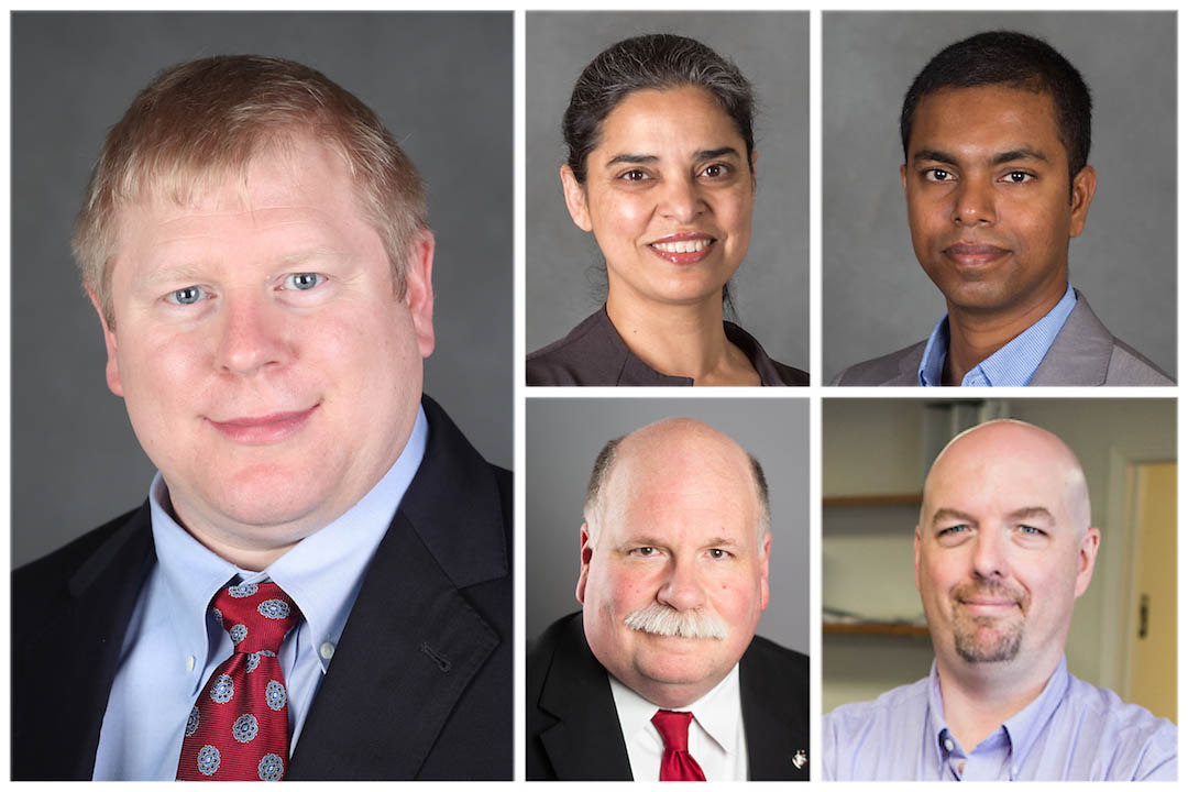 Clockwise from the left are Austin Peay State University's Drs. Perry Scanlan, Ramanjit Sahi and Vajira Manathunga, Mike Wilson and Dr. Andrew Luna. (APSU)
