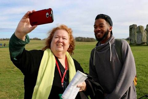 Austin Peay State University's Dr. Tracy Nichols, left, snaps a photo during a recent service-learning study abroad trip to England. (APSU)