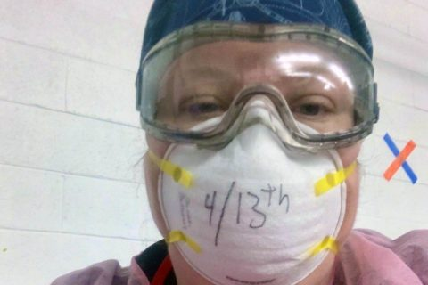 Austin Peay State University nursing student Sarah Sullivan wears a protective mask during one of her shifts at the hospital. (APSU)