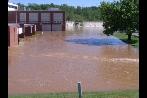 Flooding at the Clarksville wastewater treatment plant in May 2010.