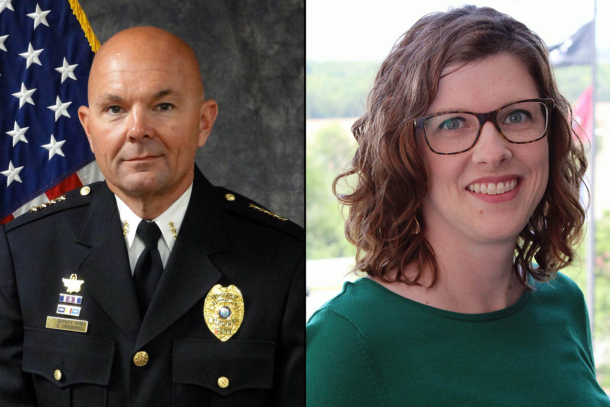 (L to R) Newly appointed Clarksville Police Chief David Crockarell and Department of Internal Audit Director Stephanie Fox.