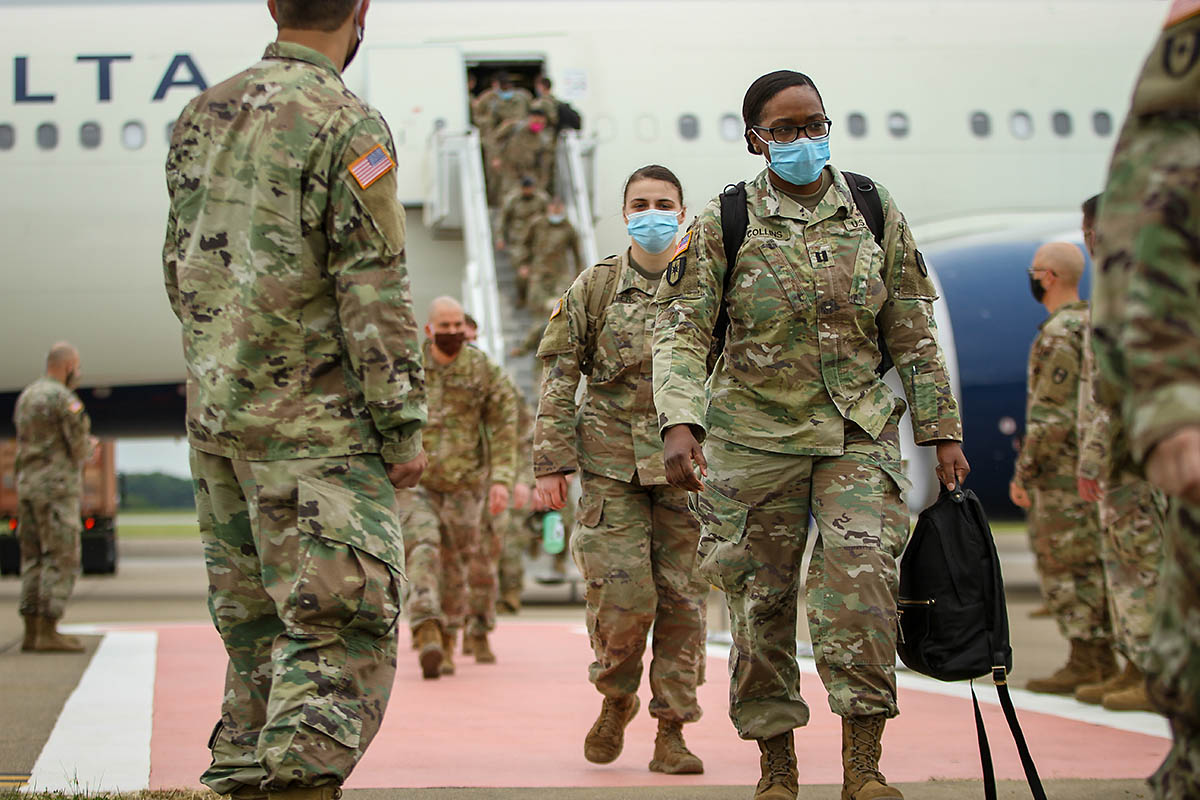 More than 200 Soldiers, who previously deployed to New York City to aid in the fight against COVID there, redeployed to Fort Campbell. Thursday. (Spc. Andrew Jo, 101st Airborne Division)