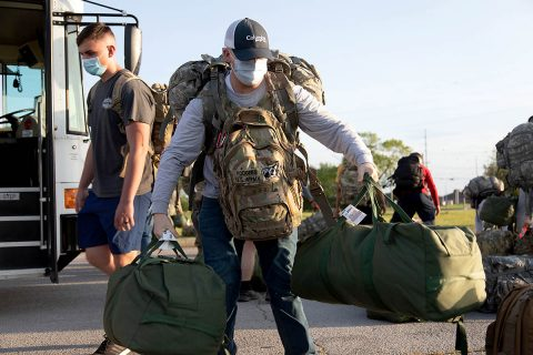 Soldiers with 501st Medical Company Area Support return to Fort Campbell, KY, May 23rd, 2020 to begin their quarantine following their medical efforts in the American North East in response to COVID-19. (U.S. Army photo by Sgt. Grant Ligon, 40th Public Affairs Detachment)