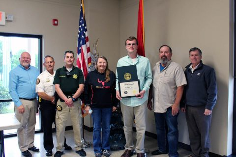 Garrett Rye awarded the Stewart County Sheriff's Award.