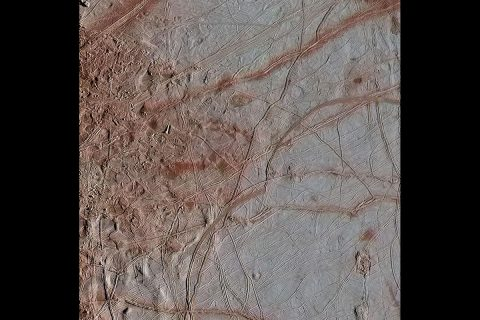 In this gallery of three newly reprocessed Europa images, details are visible in the variety of features on the moon's icy surface. This image of an area called Chaos Transition shows blocks that have moved and ridges possibly related to how the crust fractures from the force of Jupiter's gravity. (NASA/JPL-Caltech/SETI Institute)