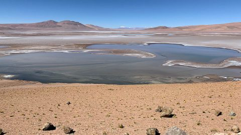 Filled with briny lakes, the Quisquiro salt flat in South America's Altiplano represents the kind of landscape that scientists think may have existed in Gale Crater on Mars. (Maksym Bocharov)
