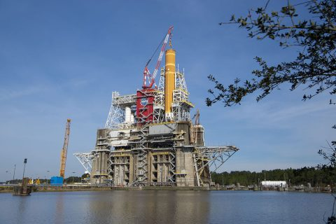 The massive core stage for NASA's Space Launch System (SLS) rocket is in the B-2 Test Stand at NASA's Stennis Space Center near Bay St. Louis, Mississippi, for the core stage Green Run test series. NASA and Boeing, the core stage lead contractor, installed the stage into the test stand in January 2020. (NASA)