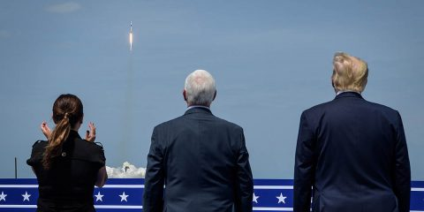 President Donald Trump, right, Vice President Mike Pence, and Second Lady Karen Pence watch the launch of a SpaceX Falcon 9 rocket carrying the company's Crew Dragon spacecraft on NASA's SpaceX Demo-2 mission with NASA astronauts Robert Behnken and Douglas Hurley onboard, Saturday, May 30, 2020, from the balcony of Operations Support Building II at NASA's Kennedy Space Center in Florida. (NASA/Bill Ingalls)