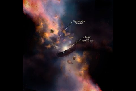 "This illustration depicts a quasar, a type of active galactic nucleus, surrounded by a dusty donut shape (torus) and clumps called ""clouds."" These clouds start small but can expand to be more than 1 parsec (3.3 light-years) wide. In this diagram, the clouds are at least 1 parsec from the torus. (Illustration by Nima Abkenar)"