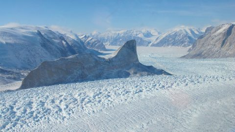 The Kangerdlugssup (pictured) and Jakobshavn glaciers in Greenland have lost roughly 14 to 20 feet (4 to 6 meters) of elevation per year over the past 16 years. (NASA/Jim Yungel)