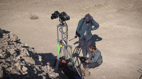 Standing in for a rover, a field team sets up equipment in a dry lakebed in the Nevada desert in February 2020. As part of the exercise, scientists spread around the world sent commands for images and data, as they will once Perseverance lands on Mars in February 2021. (NASA/JPL-Caltech)