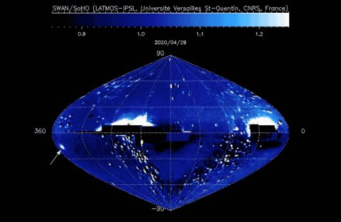Location of Comet shown on graphic. (ESA/NASA/SOHO)