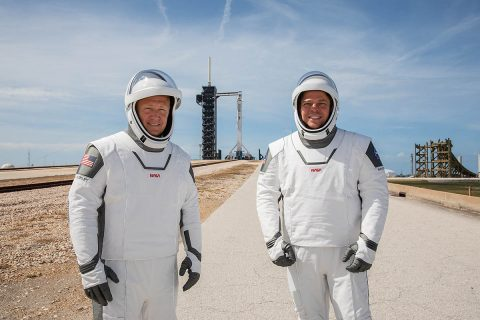 NASA astronauts Douglas Hurley (left) and Robert Behnken (right) participate in a dress rehearsal for launch at the agency's Kennedy Space Center in Florida on May 23, 2020, ahead of NASA's SpaceX Demo-2 mission to the International Space Station. Demo-2 will serve as an end-to-end flight test of SpaceX's crew transportation system, providing valuable data toward NASA certifying the system for regular, crewed missions to the orbiting laboratory under the agency's Commercial Crew Program. The launch is now scheduled for 2:22pm CDT Saturday, May 30th. (NASA/Kim Shiflett)