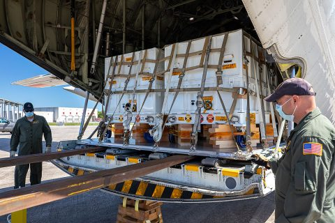 Some of the nearly 5,000 pounds (2,270 kilograms) of Perseverance mission flight hardware, test gear and equipment delivered to Kennedy Space Center on May 11, 2020, is unloaded from a NASA Wallops C-130. (NASA)