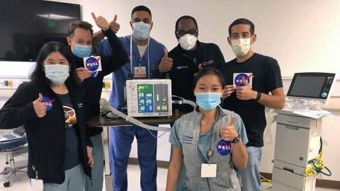 On May 28, 2020, UCLA's Dr. Tisha Wang (far left) and team members tested a compressed-air version of the VITAL ventilator prototype developed by NASA's Jet Propulsion Laboratory. (NASA/JPL-Caltech)