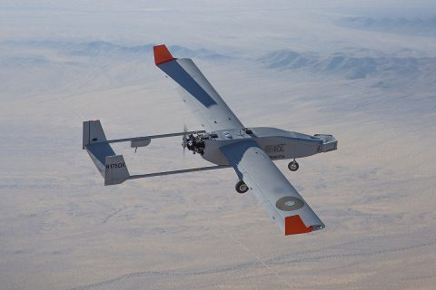 NASA's UAS Integration in the NAS project, used the Navmar Applied Sciences Corporation's unmanned TigerShark aircraft for its Flight Test Series Six project. The TigerShark performed a systems checkout flight at NASA's Armstrong Flight Research Center in July 2019. (NASA Photo / Jim Ross)