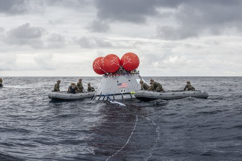 During Underway Recovery Test-8 in March, NASA's Landing and Recovery team from Exploration Ground Systems at Kennedy Space Center performs its first full mission profile test of the recovery procedures for Artemis I aboard the USS John P. Murtha in the Pacific Ocean. (NASA/Kenny Allen)