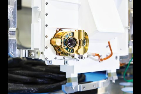 An engineering model of SHERLOC, one the instruments onboard NASA's Perseverance Mars rover. Located on the end of the rover's robotic arm, SHERLOC will help determine which samples to take so that they can be sealed in metal tubes and left on the Martian surface for future return to Earth. (NASA/JPL-Caltech)