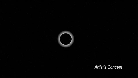 Still image from an animation illustrating Pluto passing in front of a star during an eclipse-like event known as an occultation. SOFIA observed the dwarf planet as it was momentarily backlit by a star on June 29, 2015 to analyze its atmosphere. (NASA)