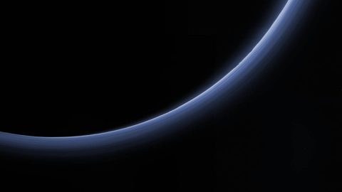 High-resolution color image of the haze layers in Pluto's atmosphere, acquired by the New Horizons spacecraft on July 14, 2015. (NASA/JHUAPL/SwRI)