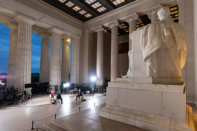 President Donald Trump participates in a FOX News Channel virtual town hall live from the Lincoln Memorial. (White House)