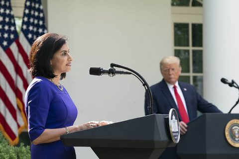 Seema Verma, Administrator for the Centers for Medicare and Medicaid Services, delivers remarks on protecting seniors with diabetes. (White House)
