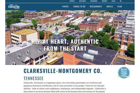 Visit Clarksville new website's homepage