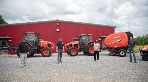 Michael Stolitca (Kubota), Dr. Donald Sudbrink (APSU), Dr. Karen Meisch (APSU), Spencer Coleman. (Coleman Tractor)