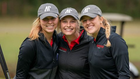 Austin Peay State University Women's Golf (L to R) freshman Payton Elkins, Meghann Stamps, and junior Riley Cooper earn WGCA All-American Scholar honors for 2019-2020 academic year. (APSU Sports Information)