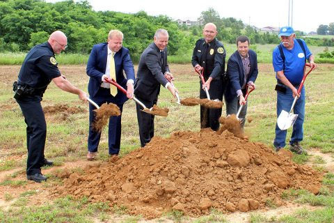 Handling the ceremonial groundbreaking for Clarksville's District 3 Police Precinct were (L to R), Captain James Smith, City Councilman Jeff Henlen, Clarksville Mayor Joe Pitts, Clarksville Police Chief David Crockarell, Daniel Binkley of Rufus Johnson Associates and J.R. Fredrick of Boger Construction.
