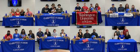 Spring Collegiate Signing Day sees Eight Student Athletes from Clarksville Academy sign.