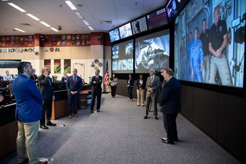 The Mission Control Center in Houston as Bob Behnken and Doug Hurley are welcomed aboard the International Space Station. (NASA / Bill Stafford)