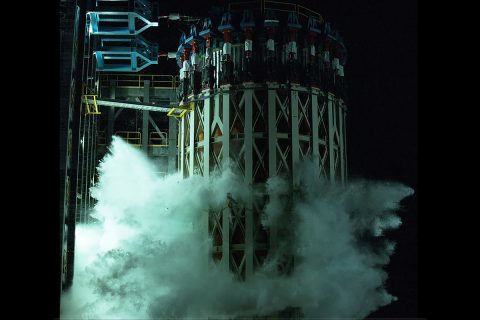 Engineers completed almost 200 tests on the Space Launch System (SLS) rocket by breaking the liquid oxygen tank test article. This test was the last in a 3-year structural campaign to ensure the rocket's structure was designed to endure the rigors of spacefllight. (NASA/David Olive)