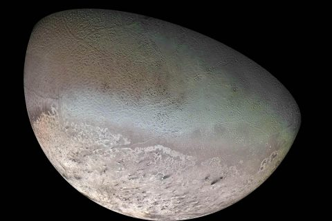 This global color mosaic of Neptune's moon Triton was taken in 1989 by Voyager 2 during its flyby of the Neptune system. (NASA/JPL/USGS)
