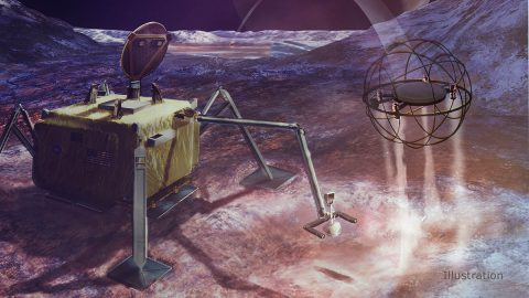 In this artist's concept, a SPARROW robot uses steam propulsion to hop away from its lander home base to explore an icy moon's surface. (NASA/JPL-Caltech)