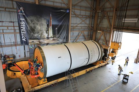 Exploration Ground System teams are processing the Artemis I booster segments and preparing to stack them with forward and aft assemblies at NASA's Kennedy Space Center in Florida. The Space Launch System (SLS) rocket booster segments arrived on June 15th by trains traveling from Utah near Northrop Grumman's facility where they were manufactured. (NASA)
