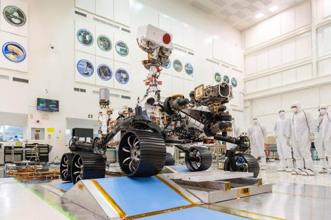 In a clean room at NASA's Jet Propulsion Laboratory in Southern California, engineers observed the first driving test for NASA's Mars 2020 rover on Dec. 17, 2019. (NASA/JPL-Caltech)