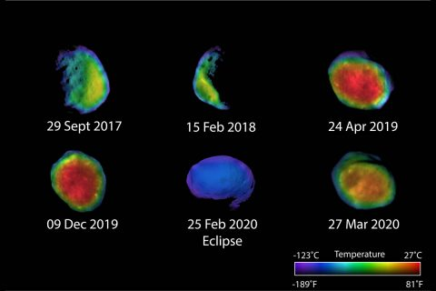 Six views of the Martian moon Phobos captured by NASA's Odyssey orbiter as of March 2020. The orbiter's THEMIS camera is used to measure temperature variations that suggest what kind of material the moon is made of. (NASA/JPL-Caltech/ASU/NAU)