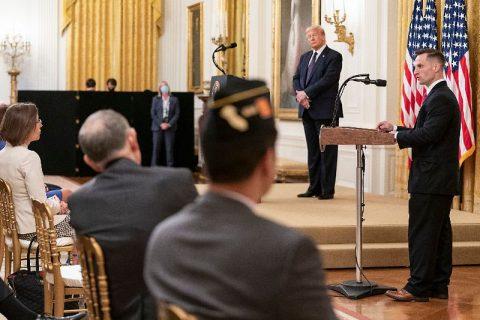 President Donald Trump announces the PREVENTS Task Force Roadmap. (White House)