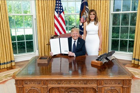 President Donald Trump, joined by First Lady Melania Trump, signed a historic executive order to strengthen America's foster care system. (White House)