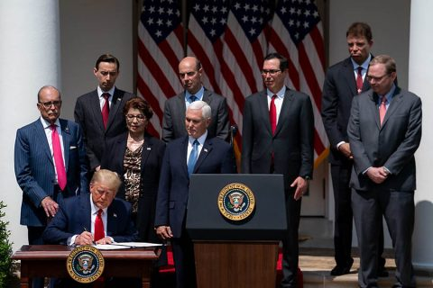 "President Donald Trump signs H.R. 7010, the ""PPP Flexibility Act of 2020"". (White House)"