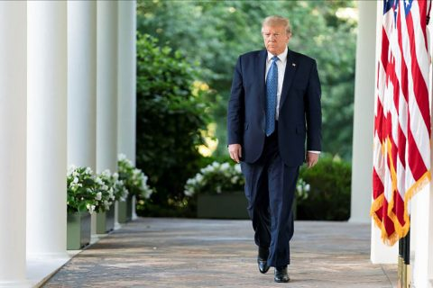 President Donald Trump walks from the Oval Office to deliver remarks in the Rose Garden. (White House)