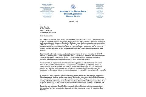 Representative Mark Green Urges FCC to Grant Temporary Waiver Protecting Exercise of Religious Freedom