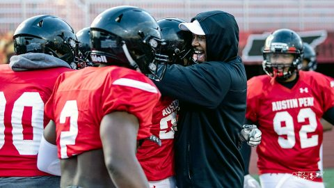Austin Peay State University head coach Marquase Lovings prepared for Govs opening practice, Saturday. (APSU Sports Information)